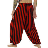 'Baggy Pirate Pants' Verticle Stripes, Renaissance Period - Red/Black