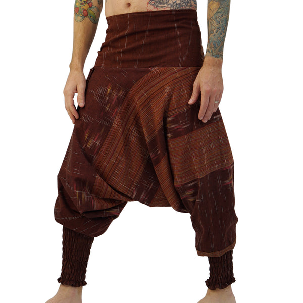 'Mao Pants' Cotton Peasant, Smock Bottoms - Brown