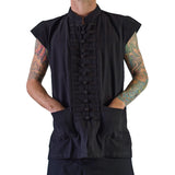 'Naval' Pirate Vest - Plain Cotton - Black - zootzu