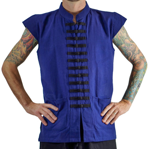 'Naval' Pirate Vest - Plain Cotton - Blue