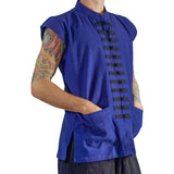 'Naval' Pirate Vest - Plain Cotton - Blue - zootzu