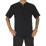'Round Collar' Renaissance Festival Shirt, Short Sleeves - Black