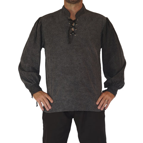 'Merchant' Renaissance Festival Shirt High Collar - Stone Gray