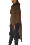 'Mantle Wrap' Medieval Shawl, Poncho, Cloak, Raw Cotton  - Earthy Brown/Black