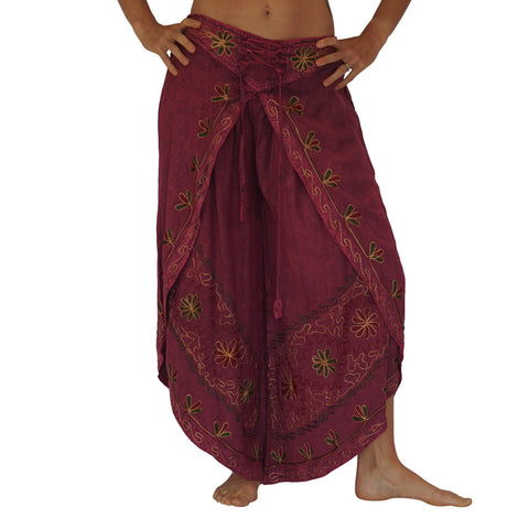 'Split' Indian Rayon Harem, Belly Dancer Pants - Dark Pink
