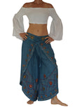 'Split' Indian Rayon Harem, Belly Dancer Pants - Light Blue
