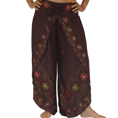 'Split' Indian Rayon Harem, Belly Dancer Pants - Dark Brown