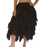 'Fay' Ragged Cut Multi Layered Boho Long Fairy Skirt - Dark Brown