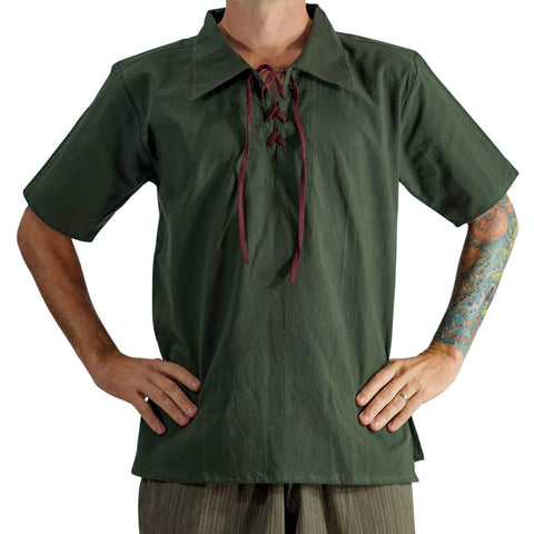 'Merchant' Renaissance Shirt, Short Sleeves - Green