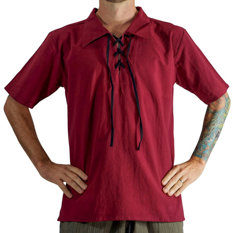 'Merchant' Renaissance Shirt, Short Sleeves - Red/Maroon