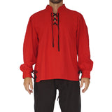'Merchant' Renaissance Festival Shirt High Collar - Red