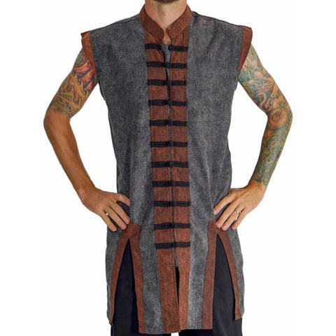 Long Pirate Vest - Stonewashed Gray