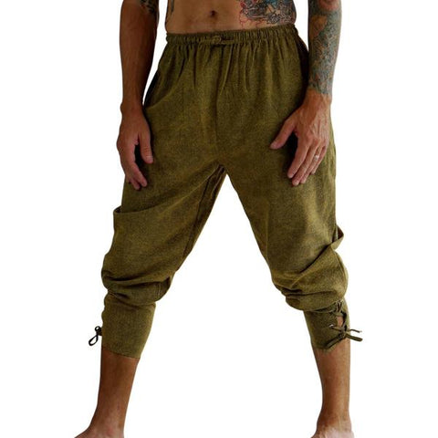 Ankle Cuff Medieval Pants - Stonewashed Green
