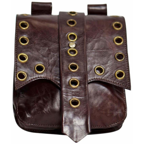 'Grommet' Medieval Leather Pouch - Brown