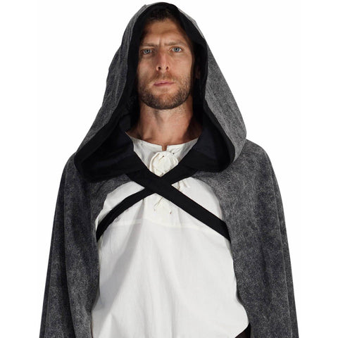 'Hooded Cloak' - Stone Grey/Black