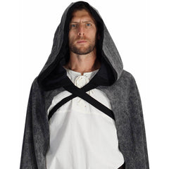 'HOODED CLOAK' Medieval - STONE GREY W/ BLACK TRIM
