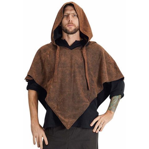 'Hooded Cowl'  Medieval Half Cloak  - Stone Brown/Black