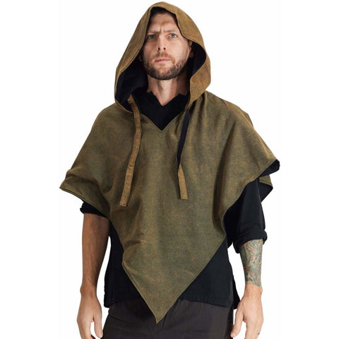 'Hooded Cowl'  Medieval Half Cloak - Stone Green/Black