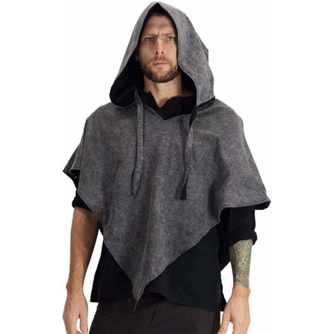 'Hooded Cowl' Medieval Half Cloak - Stone Gray/Black