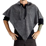 'Hooded Cowl' Medieval Half Cloak - Stone Gray/Black - zootzu