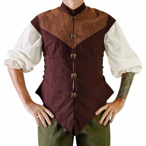 'Doublet' Medieval Vest, Jerkin - Brown/Stonewashed Brown