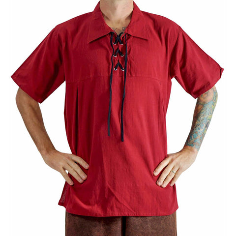 Renaissance Shirt, Short Sleeves - RED