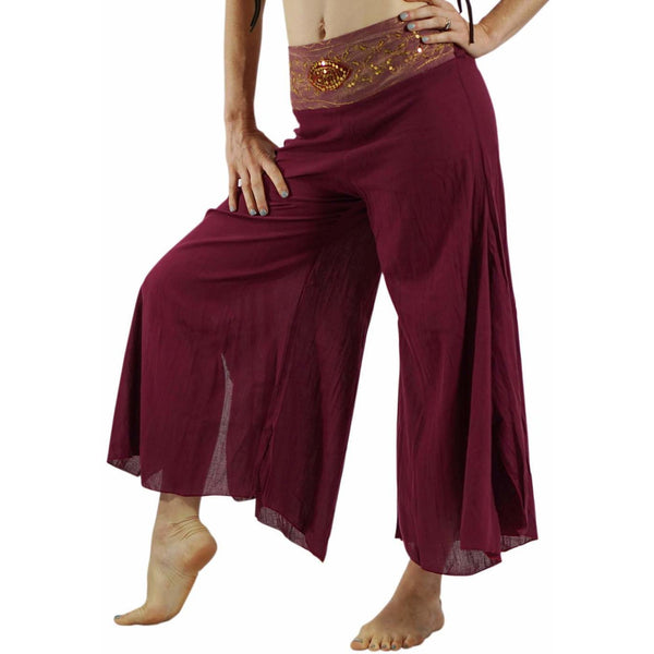 'Embroidered Belt' Harem Pants - Maroon - zootzu