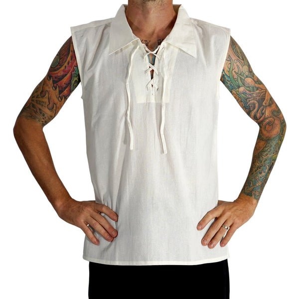 'Rogue' Medieval Sleeveless Shirt - Pointed Collar, Cream - zootzu