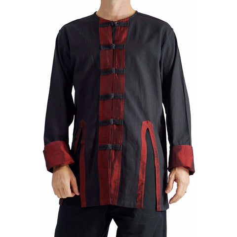 'LONG SLEEVE PIRATE SILK VEST' Steampunk - BLACK/RED