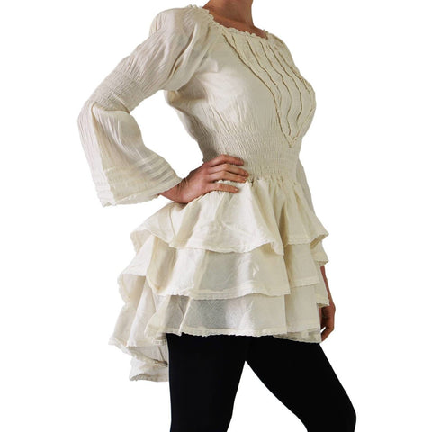 'Grace' Steampunk, Renaissance Dress - Cream