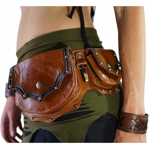 'Grande' Boho Leather Utility Belt - Brown