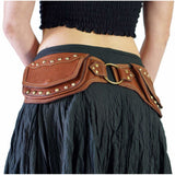 'Scallop' Leather Utility Belt - Brown - zootzu