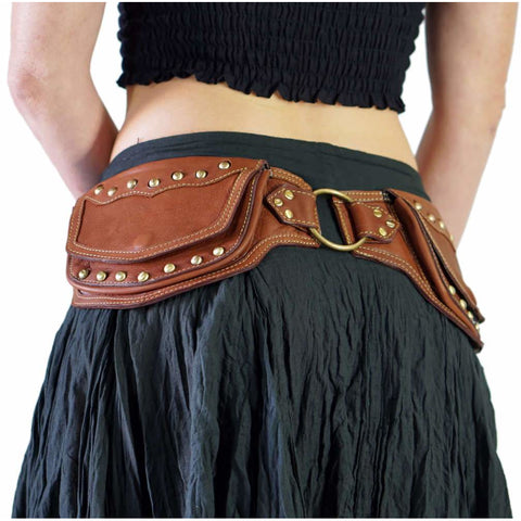 'Scallop' Leather Utility Belt - Brown