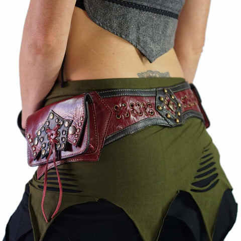 'STAR' Leather Utility Belt, Burning Man - RED