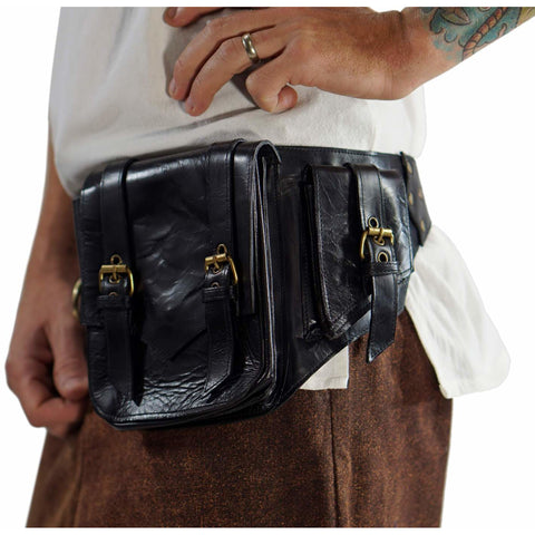 'Satchel' Leather Utility Belt  - Black