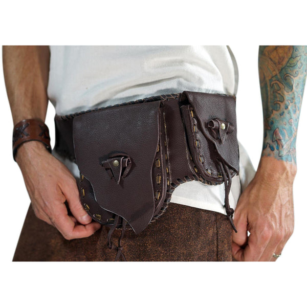 Wayfarer' - Leather Utility Belt, Boho  - Brown - zootzu