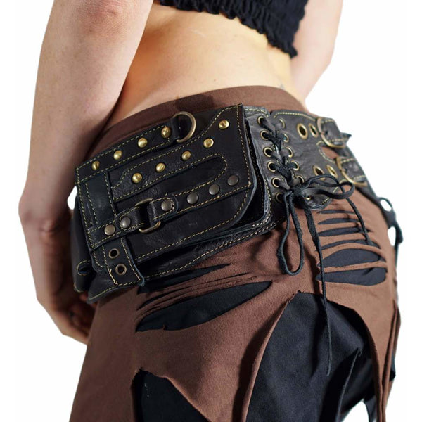 Steampunk' Leather Utility Belt, Boho  - Black - zootzu
