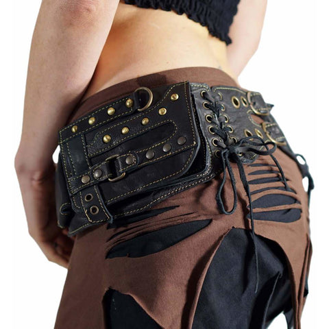 'Steampunk' Leather Utility Belt, Burning Man - Black