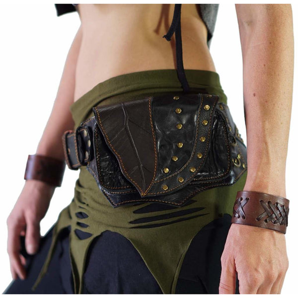 'Double Leaf Diamond' Leather Utility Belt - Black - zootzu