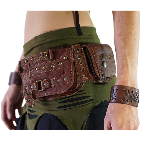 'Steampunk' Leather Utility Belt - Brown - zootzu