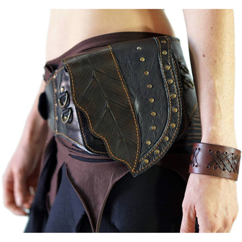 Long Leaf' - Boho  Leather Utility Belt -  Brown