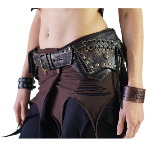 'Lace' Burning Man Leather Utility Belt - Black