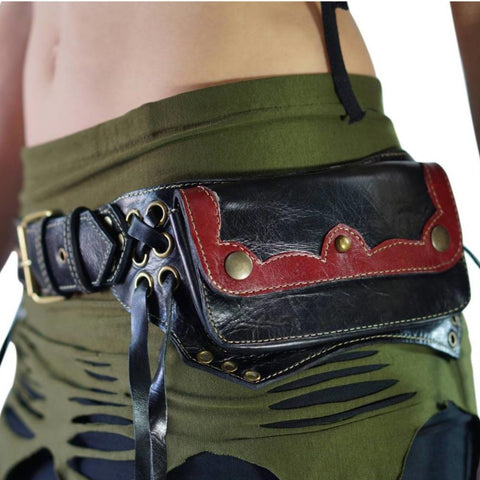 Lill' - Boho  Leather Utility Belt -  Black/Red