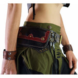 Lill' - Boho  Leather Utility Belt -  Black/Red - zootzu