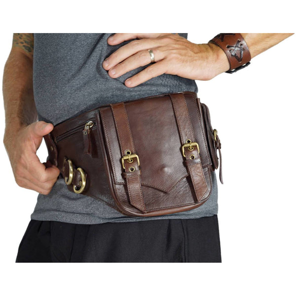 Satchel' Leather Utility Belt, Boho  - Brown - zootzu