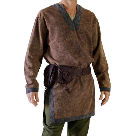 'Viking Shirt' Long Sleeves Medieval - Brown