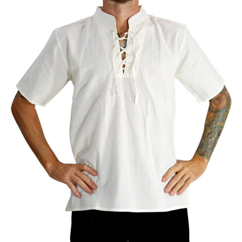 'Merchant' Renaissance Shirt, High Collar, SS- Cream