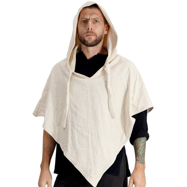 'Hooded Cowl' Medieval Half Cloak  - Cream - zootzu