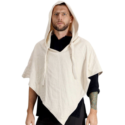 'Hooded Cowl' Medieval Half Cloak  - Cream