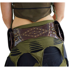 'DOUBLE LEAF DIAMOND BACK' Leather Utility Belt - BROWN